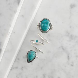 droplet rings, oversized turquoise