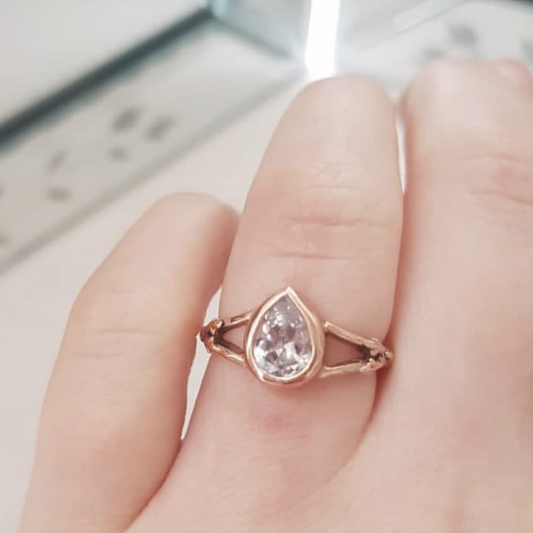 rose gold crystal teardrop