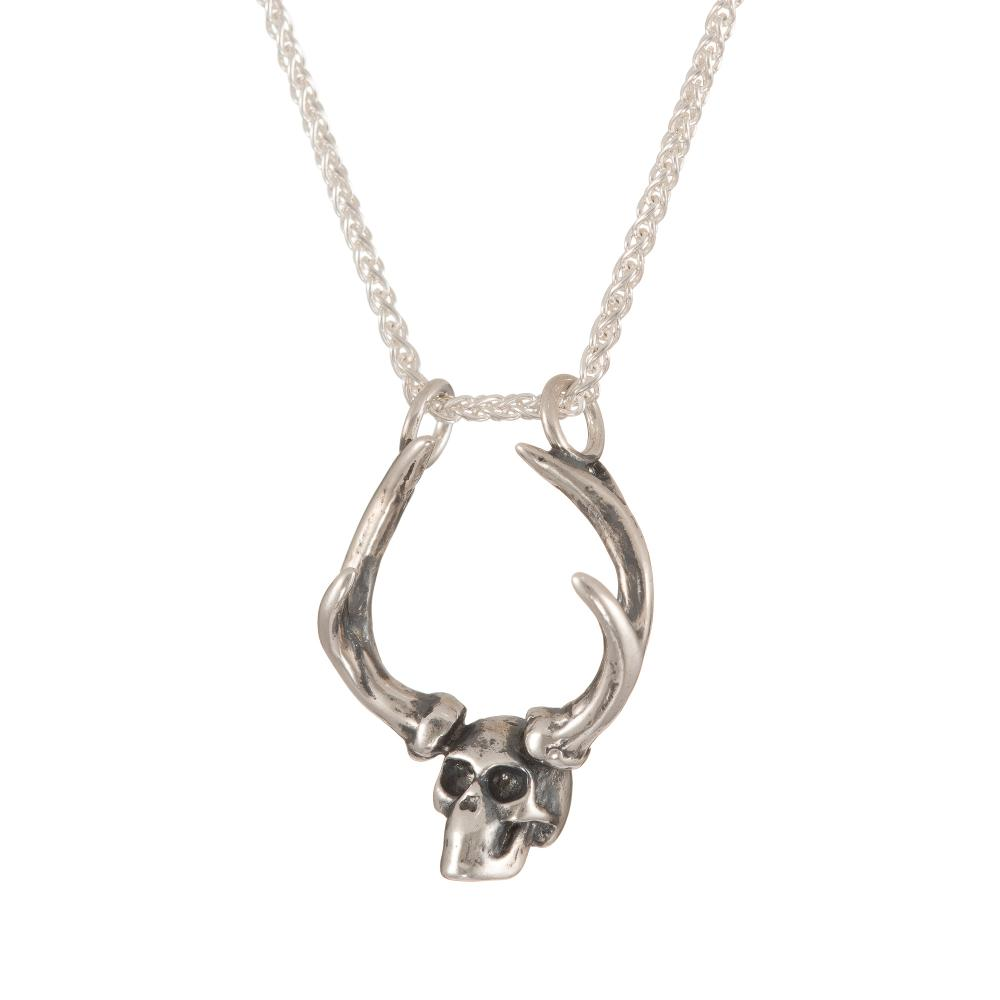 skull and antler pendant